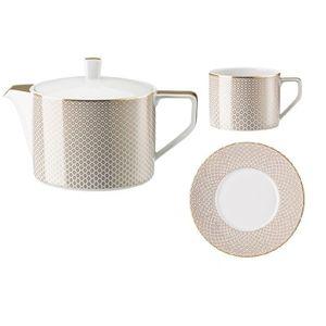 Serviciu de ceai din portelan pentru 6 persoane Carreau Beige Rosenthal Classic