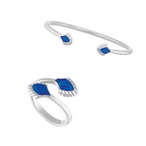 Set Inel + Bratara Paon Bleu Lalique