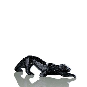 Sculptura pantera din cristal negru L Zeila Lalique